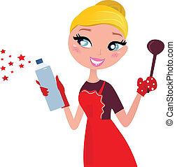 limpieza, retro, lindo, ama de casa, navidad, cocina, y