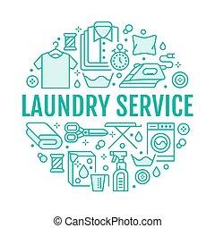 Limpieza seca, ilustración con icono de línea plana. Equipo de lavado de ropa, lavadora, ropas de cuero, ropa al vapor. Círculo de plantilla delgadas señales lineales póster de lavandería