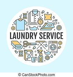 Limpieza seca, ilustración con iconos de línea plana. Equipo de lavado, lavadora, ropa de reparación de calzado al vapor. Círculo de plantilla delgadas señales lineales póster de lavandería