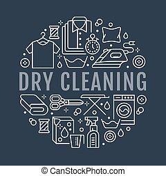 Limpieza seca, ilustración con iconos de línea plana. Equipo de servicio de lavandería, lavadora, reparación de ropa, vapor de ropa. Círculo de plantilla delgadas señales lineales póster de lavandería