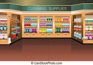limpieza, sección, tienda de comestibles, store:, suministro