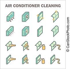 limpio, condicionamiento, aire