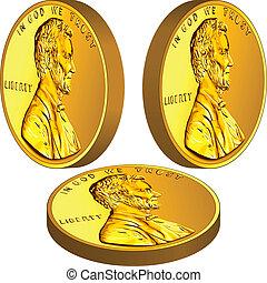 lincoln, oro, imagen, tres, centavo, uno, dinero americano, ángulos, moneda, diferente