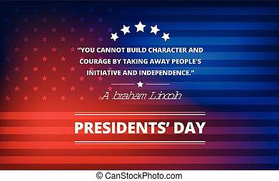 lincoln, plano de fondo, presidentes, -, ilustración, vector, inspirador, cita, abraham, día