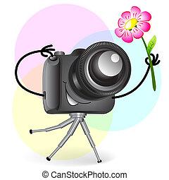 Linda cámara de dibujos animados con flores