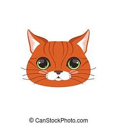 Linda cabeza de gato rojo, divertida ilustración de vector de caracter de animales de dibujos animados