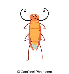 Linda caricatura divertida cucaracha vector de caracter Ilustración