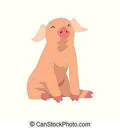Linda caricatura divertida vector de cerdo ilustración en un fondo blanco