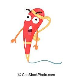Linda caricatura roja sorprendida humanizada por bolígrafo vector de ilustración