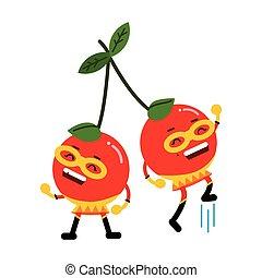 Linda caricatura sonriendo cerezas superhéroes en máscaras coloridas bayas humanizadas vector de caracter Ilustración