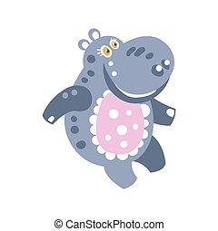 Linda caricatura sonriendo hipopótamo ilustración vectorial del personaje