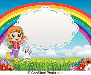 Linda chica con perro en el parque el día del arco iris