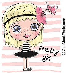Linda chica de dibujos animados con flores