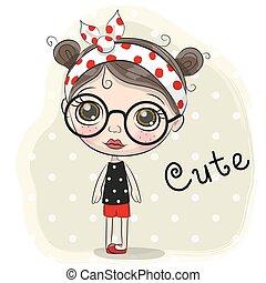 Linda chica de dibujos animados con gafas