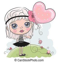 Linda chica de dibujos animados con un globo