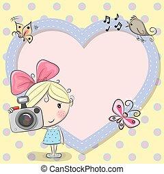 Linda chica de dibujos animados con una cámara