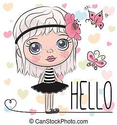 Linda chica de dibujos animados con una flor