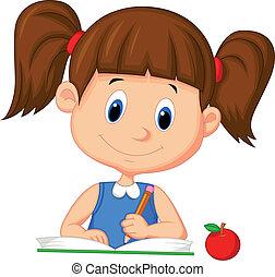 Linda chica de dibujos animados escribiendo en un libro