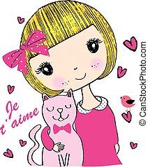 Linda chica/Camiseta Graphic/Libro de niños ilustraciones/chica/chica linda/chica linda / diseñadora/chica bonita/persona/persona/personaje