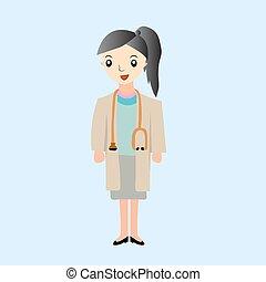 Linda enfermera, ilustración de dibujos animados