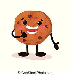 Linda galleta con cara sonriente, divertida caricatura de caricatura humanizada vector de personaje de caricatura en un fondo blanco