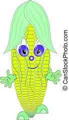 Linda ilustración de caracteres de caricatura de maíz.