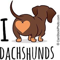 """Linda ilustración de dibujos animados del perro salchicha de perro salchichas aisladas en blanco: """"Me encantan los perros salchichas"""". Salchichas de salchicha de chocolate y salchicha, vista trasera. Culo doxie divertido, amantes de perros, mascotas, tema de animales."""