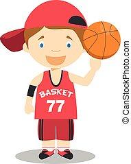 Linda ilustración de vectores de dibujos animados de un jugador de baloncesto