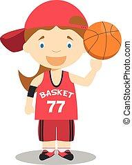 Linda ilustración de vectores de dibujos animados de un jugador de baloncesto. La serie de profesiones femeninas