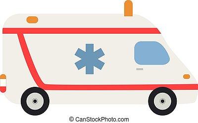 Linda ilustración de vectores de dibujos animados de una ambulancia