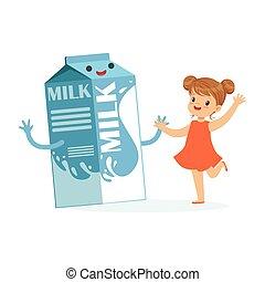 Linda niña feliz y divertida caja de cartón de leche con cara humana sonriente jugando y pasándolo bien, niños sanos dibujos animados vector de ilustración