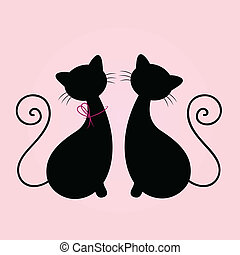 Linda pareja de gatos sentados juntos, Silhouette aislada en rosa