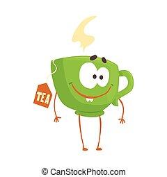 Linda taza de té verde de dibujos animados con carita sonriente, divertida y rápida vector de comida vector de ilustración