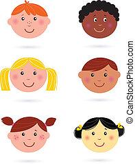 Lindas cabezas de niños multiculturales