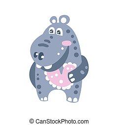 Lindas caricaturas de hipopótamo de dibujos animados ilustraciones de vector de carácter