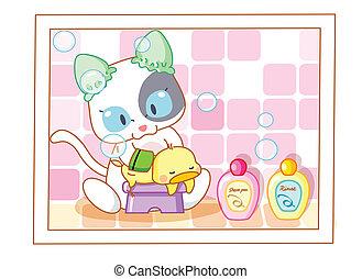 Lindas chicas para bañar gatos