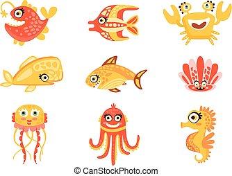 Lindas criaturas marinas de dibujos animados. El mundo subterráneo de personajes coloridos vector de ilustraciones