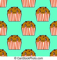 Lindas magdalenas sin costura con caras de kawaii. Pasteles de taza sonrientes con charry topping. Ilustración de diseño plano