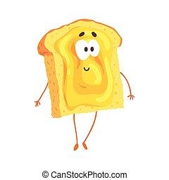 Lindas tostadas de dibujos animados con mermelada y carita sonriente, divertida y rápida vector de comida vector de ilustración