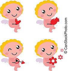 lindo, ángel, valentino, aislado, cupido, blanco, o