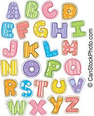 lindo, alfabeto, cartas, capital