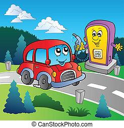 Lindo auto en la gasolinera de caricaturas