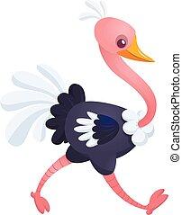 Lindo avestruz de dibujos animados. Ilustración de carácter vectorial