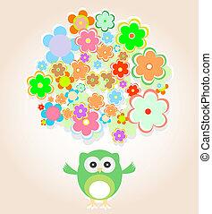 Lindo búho vector con muchas flores