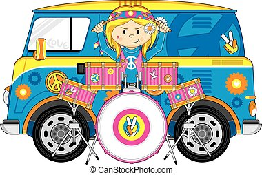 Lindo baterista hippie de dibujos animados