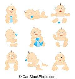 Lindo bebé con ilustración de vectores de pañales
