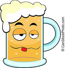 lindo, borracho, jarro de cerveza