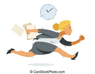 lindo, cómico, tarde, mujer, trabajador, mujer de negocios, divertido, ilustración, empresa / negocio, caricatura, apuro, empleado, rush., corra, o, vector, contador