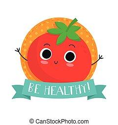 lindo, carácter, vector, vegetal, tomate, insignia