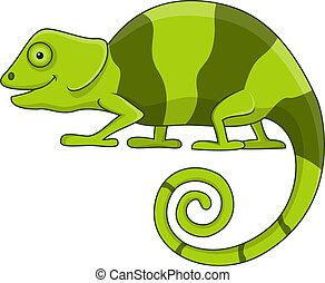 lindo, caricatura, camaleón